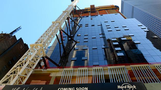 A street-level view from the site of the future Hard Rock Hotel New York, located at 159 W. 48th Street in New York City's iconic Times Square district