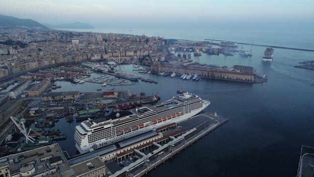 MSC Grandiosa departs Genoa.