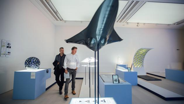 Installations on display at the BA 2119: Flight of the Future exhibition