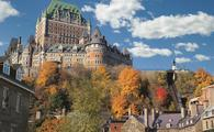 Fall foliage at Le Chateau Frontenac in Quebec City