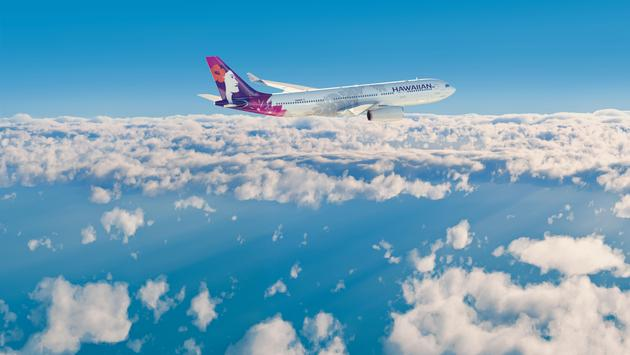 Airplane and Clouds (Photo via Hawaiian Airlines)