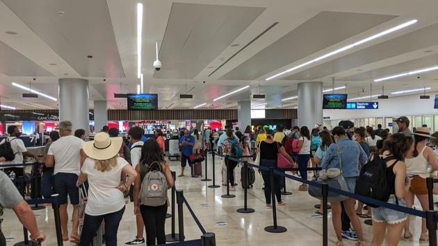 Security line at Cancun Airport