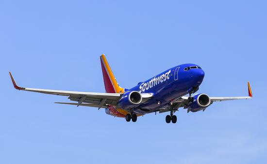 Southwest Airlines plane landing at LAX