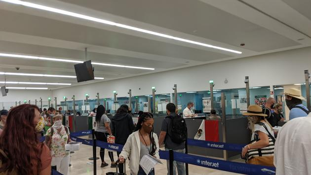 Customs line at Cancun Airport