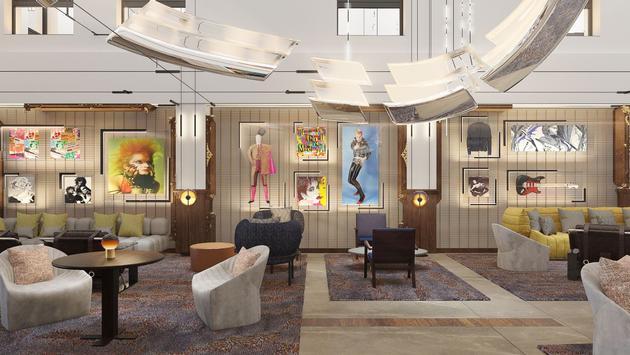 Lobby area at the Hard Rock Hotel Madrid, Spain.