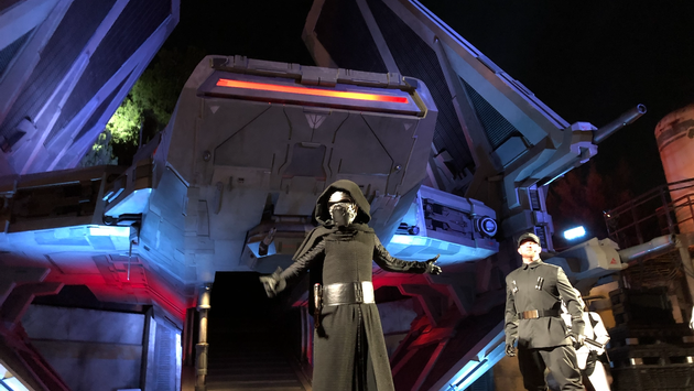 Kylo Ren holds court in front of the TIE Echelon at Star Wars: Galaxy's Edge.