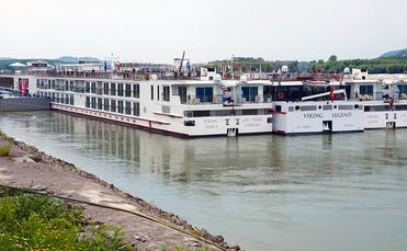 Various Viking River Cruises riverboat classes moored together