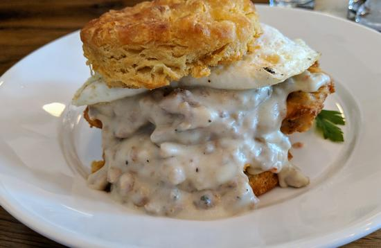 Fried Chicken and Gravy biscuit from Vivian in Asheville, NC