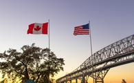 International Blue Water Bridge Crossing Between Port Huron Michigan And Sarnia Ontario.