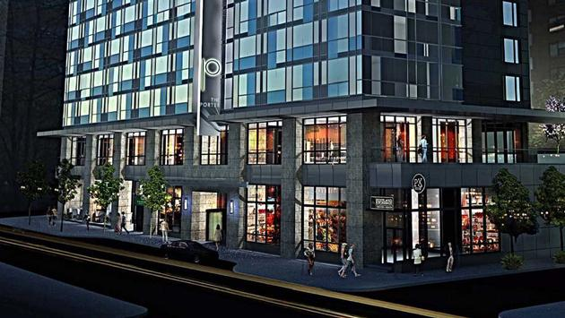 Exterior rendering of the Porter in Portland.