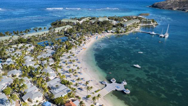 Aerial view of St James's Club & Villas, Antigua, Mamora Bay, Elite Island Resorts