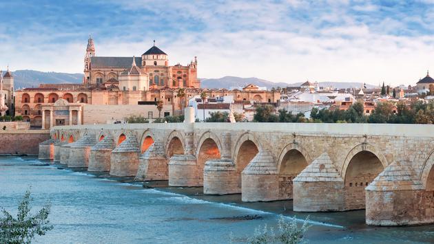 Roman Bridge and Guadalquivir river, Great Mosque, Cordoba, Spai