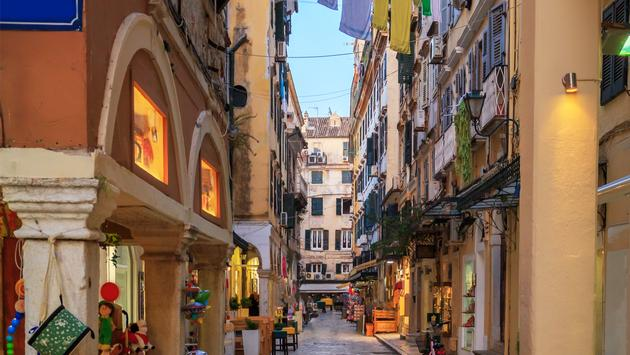 Historic Center of Corfu Town in the dusk