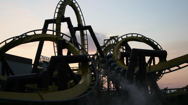 roller coaster, theme park, six flags