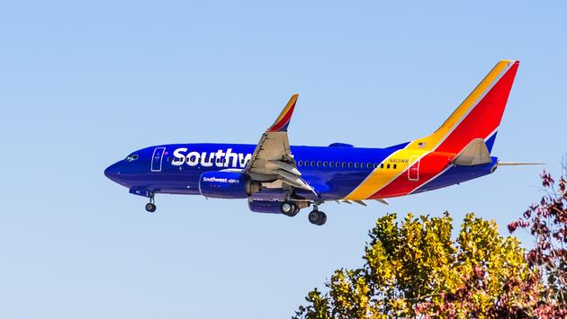Southwest Airlines aircraft approaching San Jose International Airport