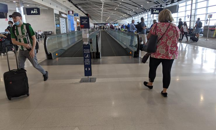 Travelers at the Detroit airport