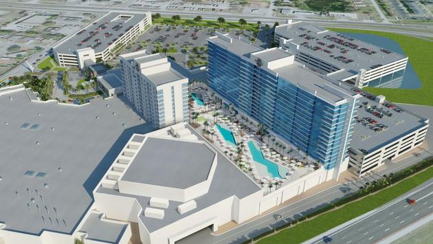 Aerial exterior rendering of the Seminole Hard Rock Hotel & Casino Tampa