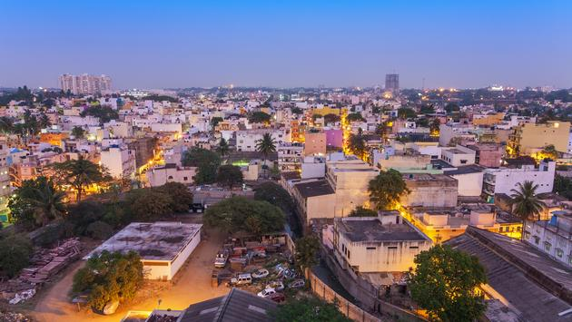 Bangalore city skyline in resident zone at night, Bangalore, India
