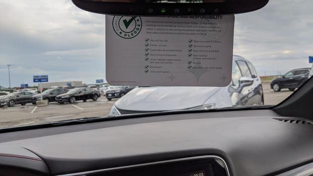 Enterprise Rent a Car cleaning sign
