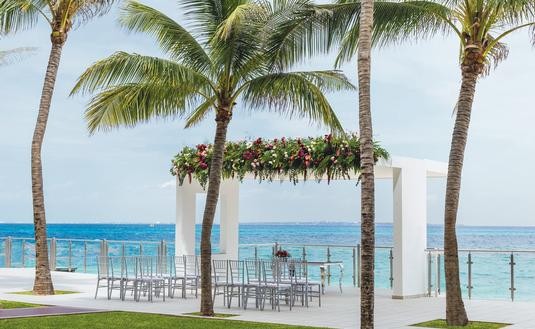 Wedding ceremony set up at Hotel Riu Cancun
