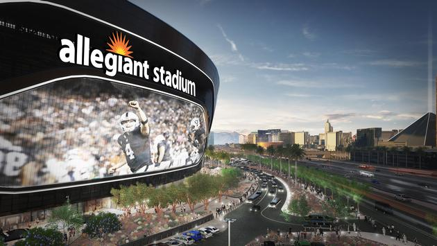 Artist's rendering of the future Allegiant Stadium, overlooking the Las Vegas Strip