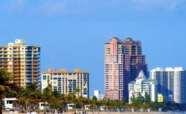 Condos line the beach in Fort Lauderdale, Florida