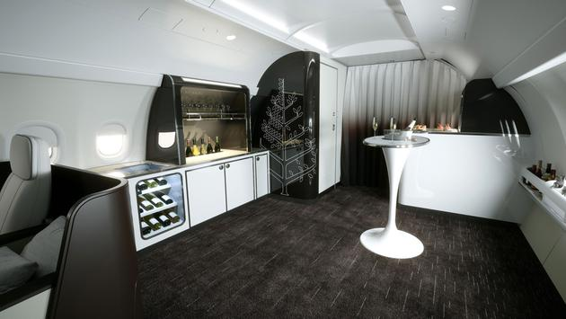 A new lounge area will allow for socializing and interactive workshops, Four Seasons private jet