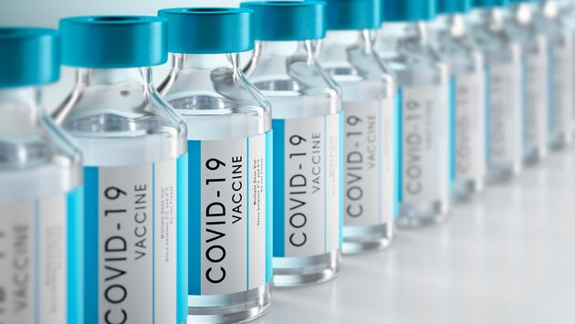 Bottles of COVID-19 vaccine.