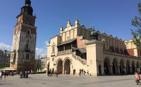 Located within Krakow's walled historic center, the city's main public square is Europe's largest. (Photo by Mimi Kmet)
