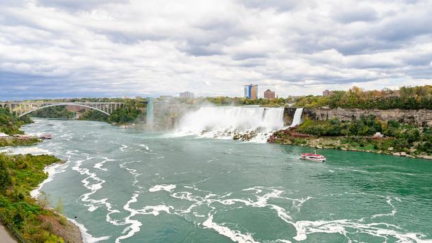 Niagara Falls with Rainbow Bridge and American Falls in Ontario, Canada