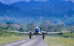 Plane landing at the airstrip in Quepos after a short flight from San Jose, Costa Rica.