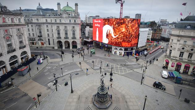Empty Piccadilly Circus in London during the COVID-19 pandemic