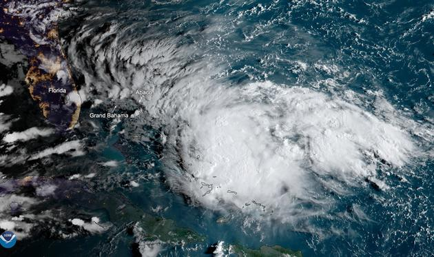 2019 Tropical Storm Humberto over the Bahamas.