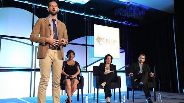 Get comfortable sharing your story. Pictured, Jacob Marek shares his vision for IntroverTravels during the 2017 ASTA Global Convention