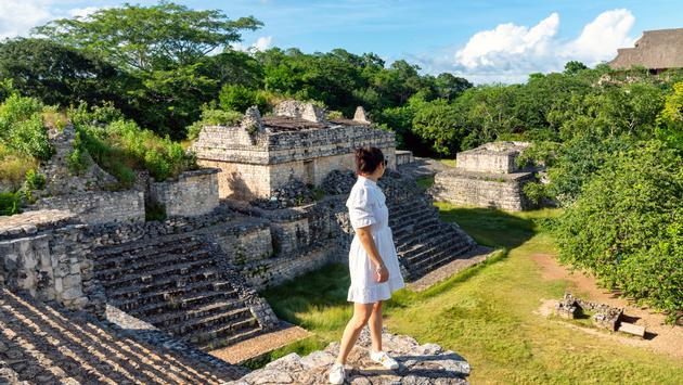A tourist visiting Mayan ruins in Yucatan, Mexico.