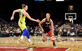A'ja Wilson (right) stars with the Las Vegas Aces.