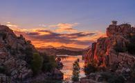 Sunset over Watson Lake in Prescott, Arizona