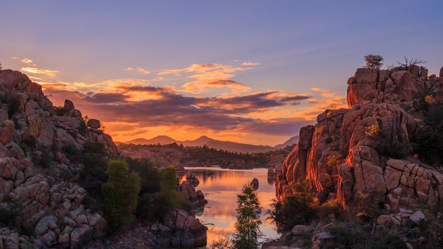 Sunset over Watson Lake in Prescott, Arizona