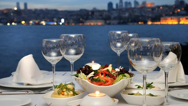 Elegant dining with a stunning bayfront view.
