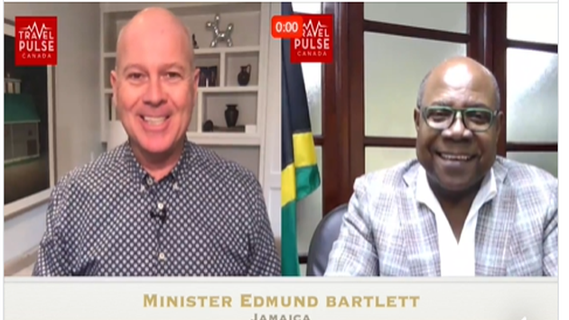 TravelPulse Canada's John Kirk and Jamaica Tourism MInister Edmund Bartlett