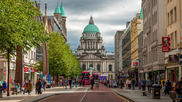 View along the street to City Hall, Belfast, Northern Ireland