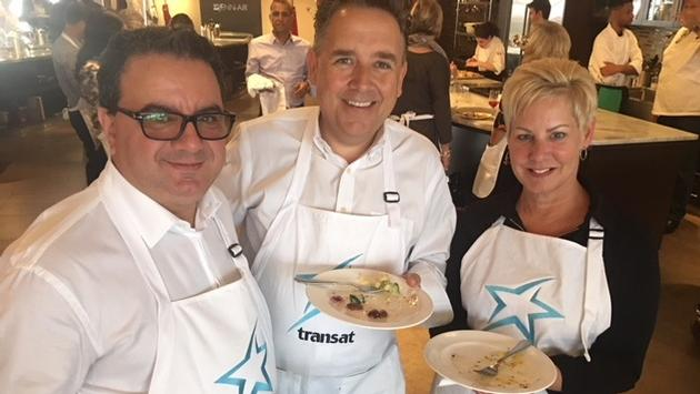 TravelBrands' Frank DesMarinis and The Travel Agent Next Door's Flemming Friisdahl, join Transat's VP National Sales and Commercial, Denise Heffron.