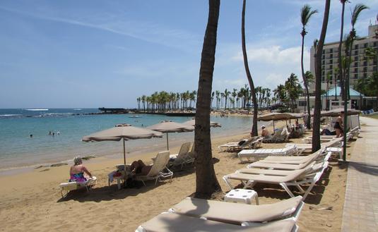 Beach at the Caribe Hilton in San Juan Puerto Rico