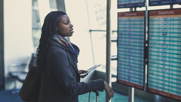 woman, airport, African american, travel