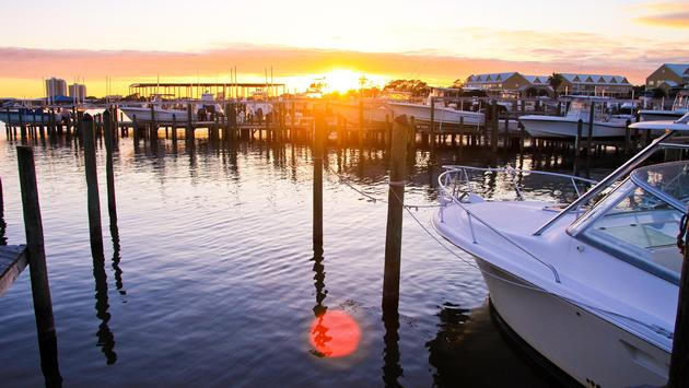 Marina at Orange Beach at sunset