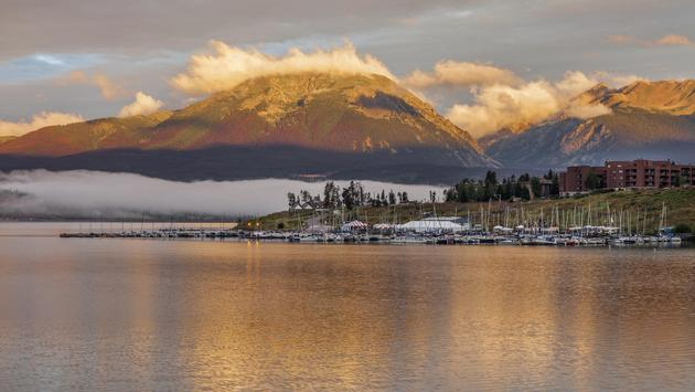 sunrise over Lake Dillon and marina