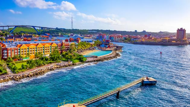 A beautiful bay with colorful architecture in Curaçao, one of the Lesser Antilles islands in the Caribbean Sea.