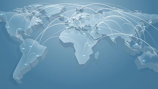 World flight map.
