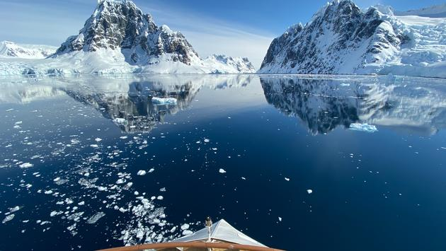 Sailing through Lemaire Channel, Antarctica on the Greg Mortimer