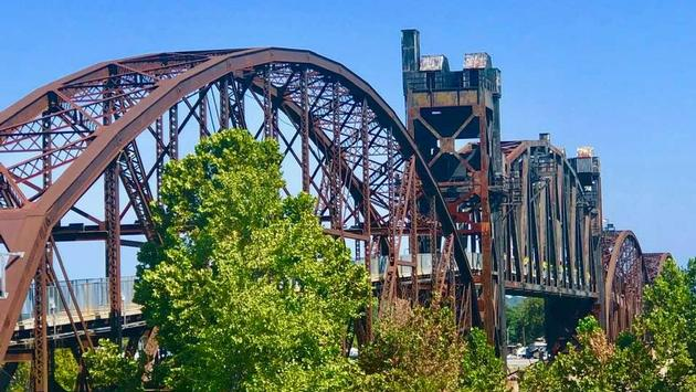 historic pedestrian bridge in Little Rock, Arkansas
